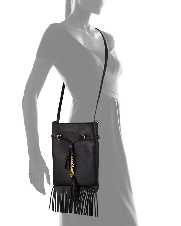 63eec16439 Saint Laurent Monogram Small Fringe Bucket Bag in Black - Lyst
