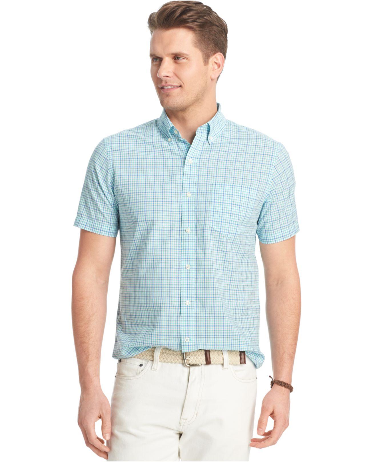 Izod big and tall small plaid poplin short sleeve shirt in for Izod big and tall shirts