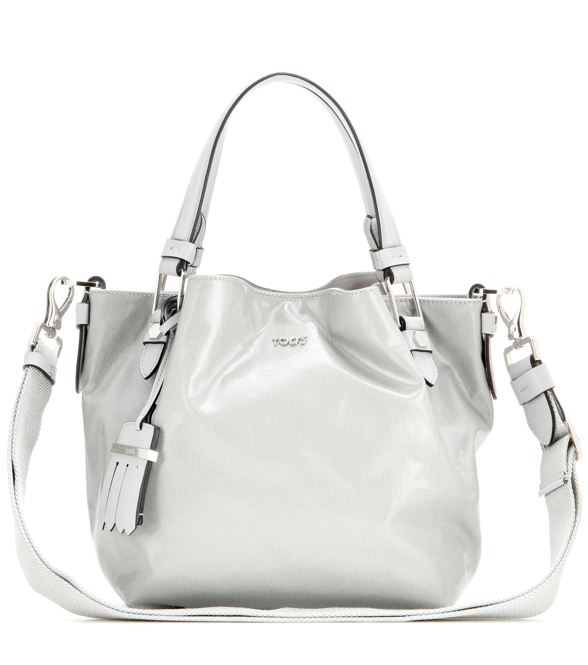 Lyst Tods Flower Micro Coated Canvas And Leather Bag In Gray Gallery