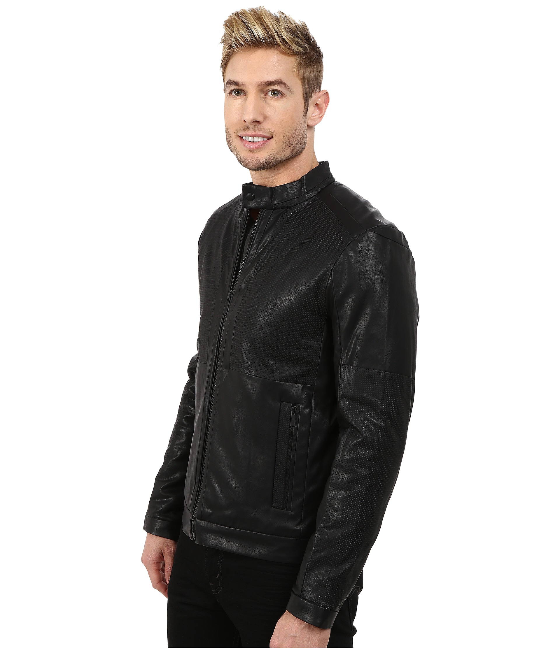 Mens Perforated Faux Leather Jacket Cairoamani Com