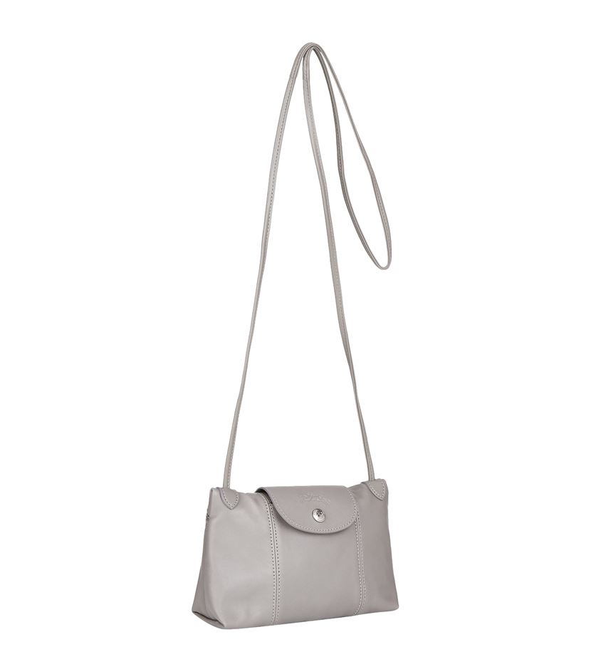 Longchamp Le Pliage Cuir Cross Body Bag in Grey