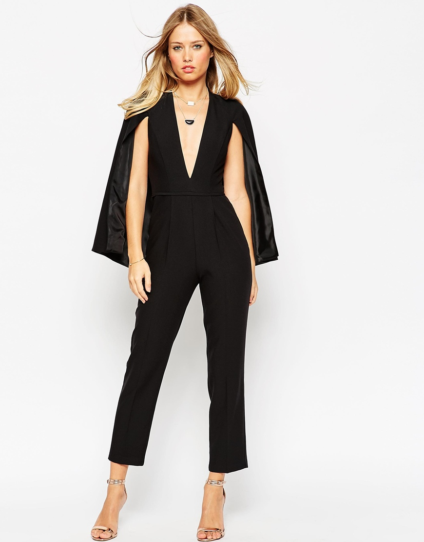 Lyst Asos Jumpsuit With Cape Detail In Black