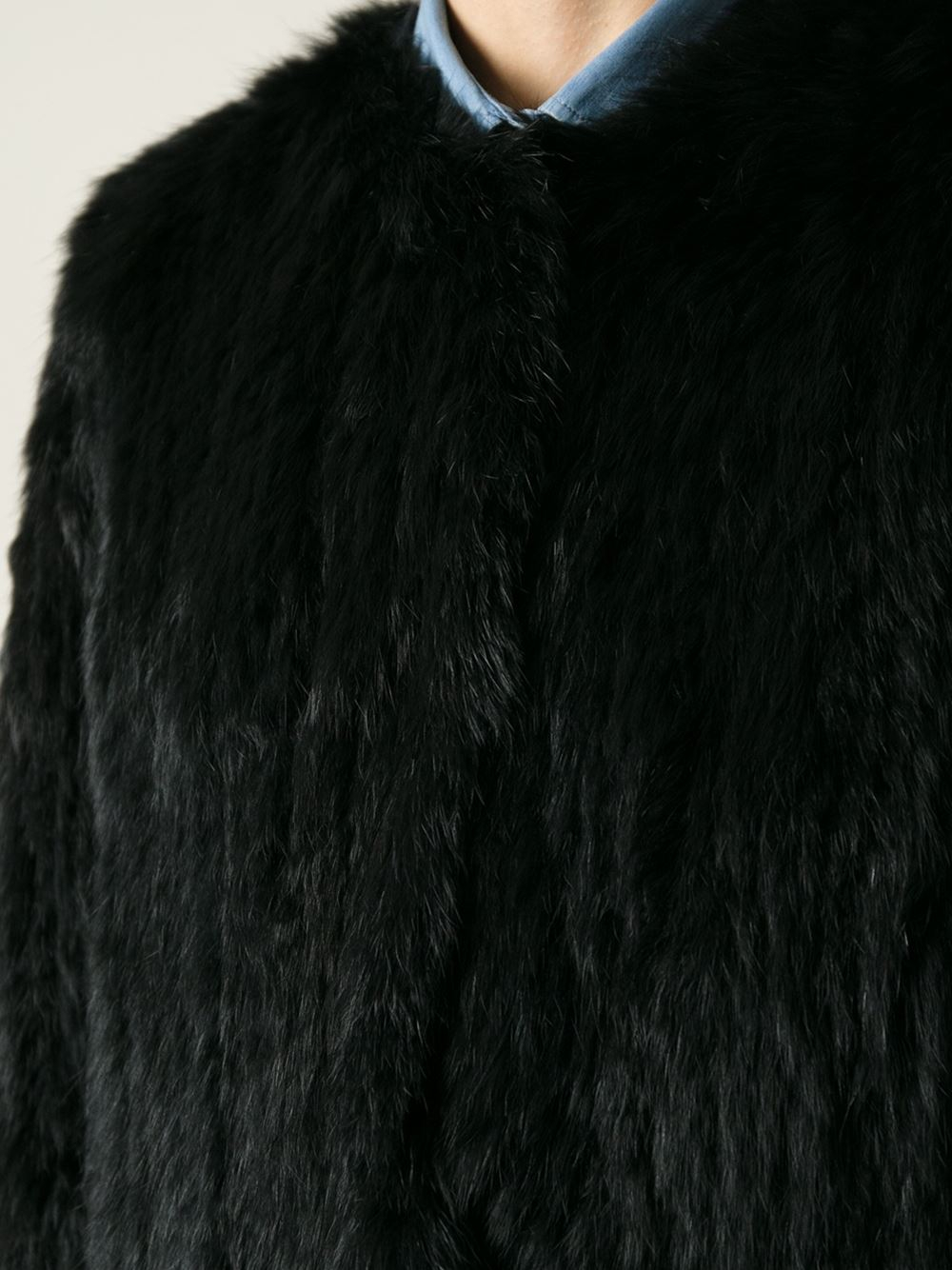 fc93286591e2 Lyst - Meteo by Yves Salomon Straight Fit Coat in Black
