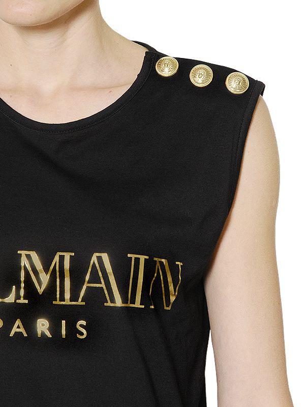 a8b464a0 Balmain Logo Printed Cotton T-shirt in Black - Lyst
