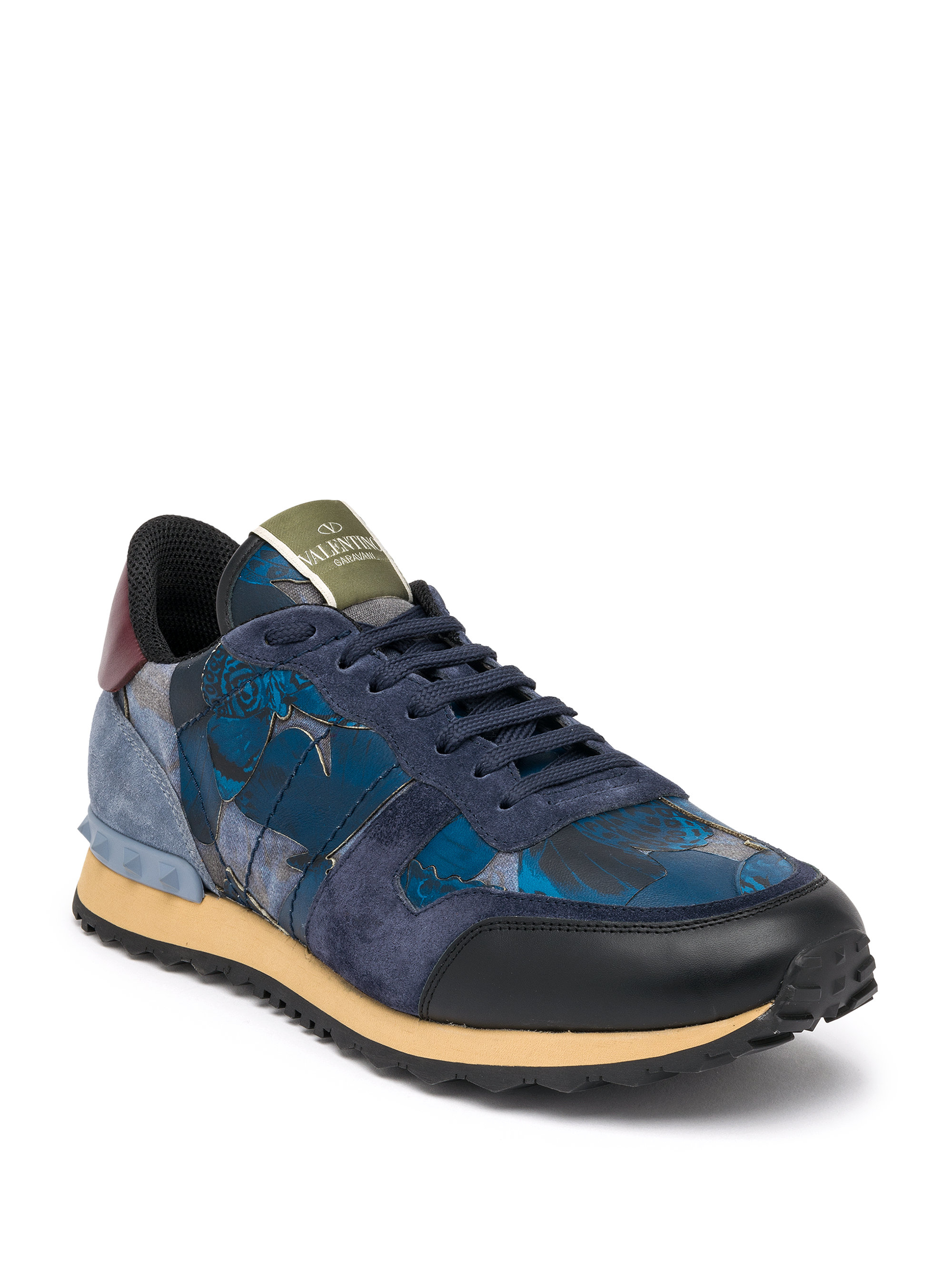 e8bb3fbf1556c Valentino Camubutterfly Rockrunner Leather Low-Top Trainers in Blue for Men