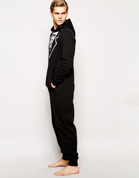 Asos Onesie With Tuxedo Print In Black For Men Lyst