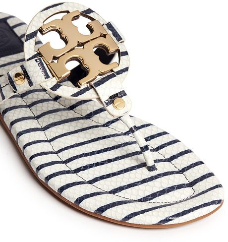 Tory Burch Miller 2 Snake Embossed Striped Sandals In