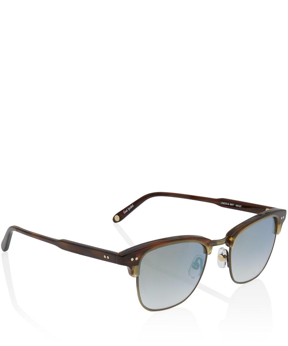 Garrett leight Brown Lincoln Half Frame Sunglasses in ...