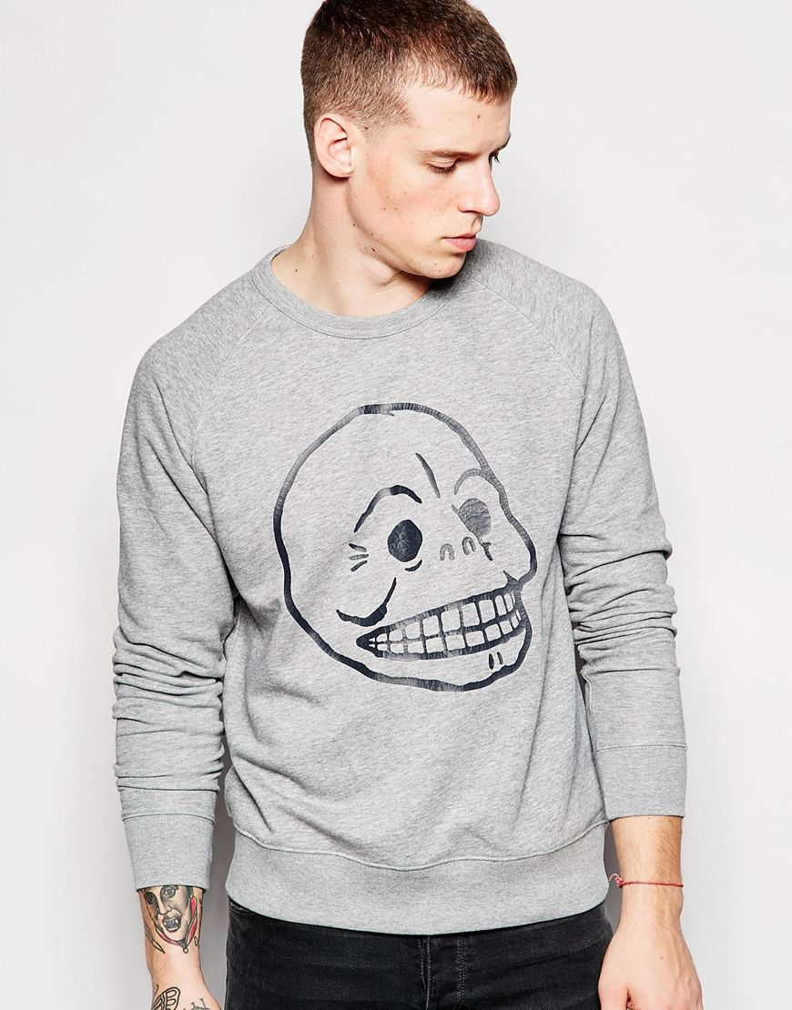 Cheap monday Rules Cracked Skull Sweatshirt in Gray for Men | Lyst