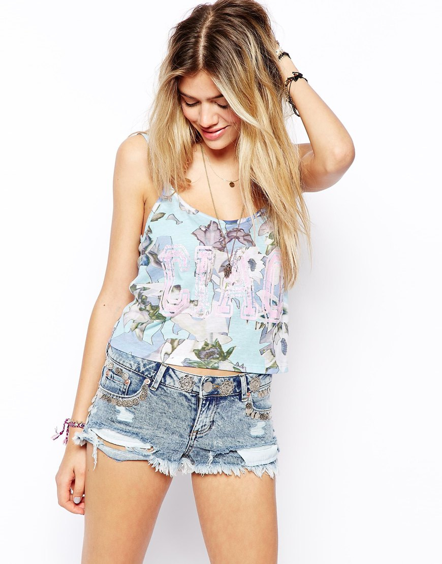 asos floral cami top with ciao print lyst