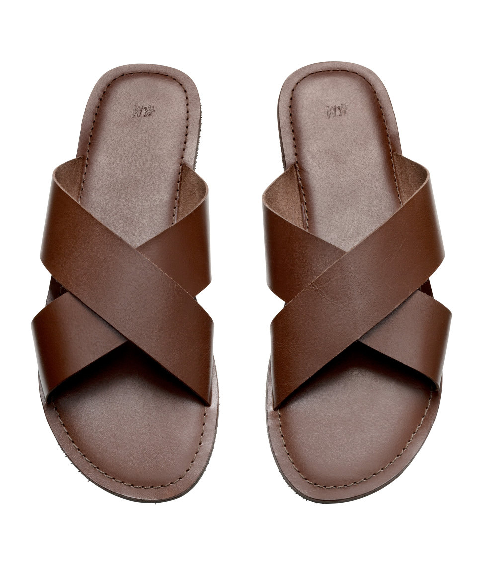 cd8bbd4d7006 H M Leather Sandals in Brown for Men - Lyst