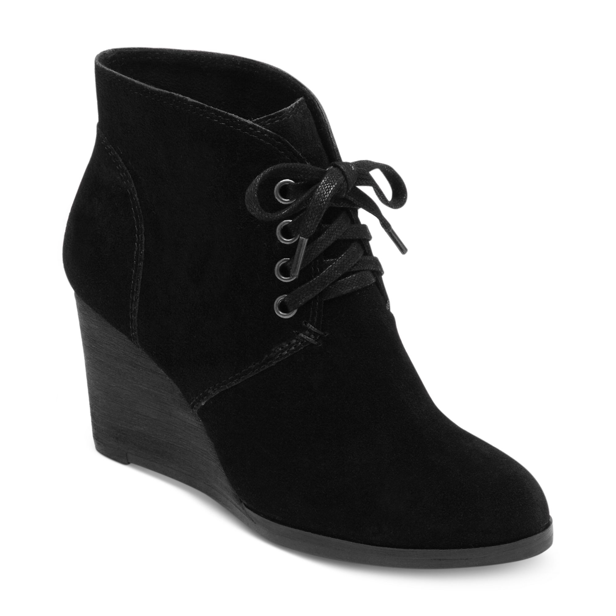 lucky brand swayze wedge booties in black lyst