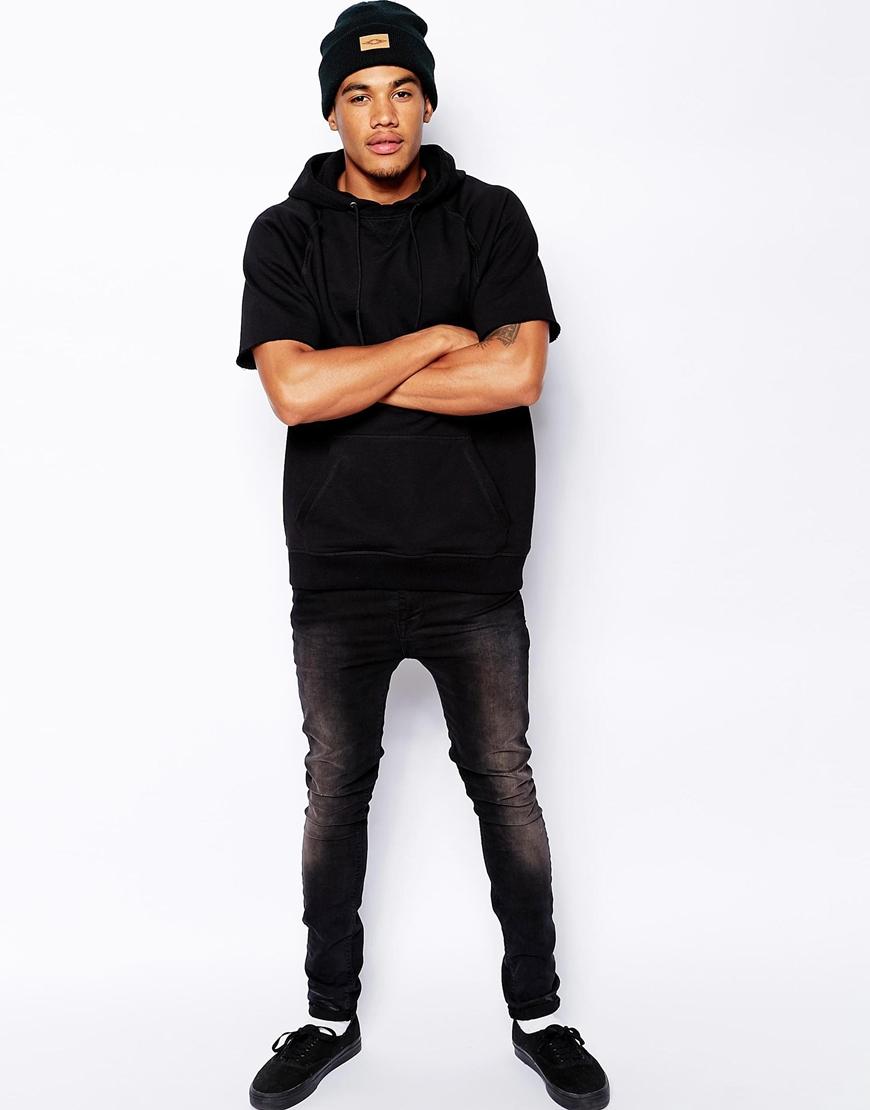 Asos Oversized Hoodie in Short Sleeve in Black for Men | Lyst