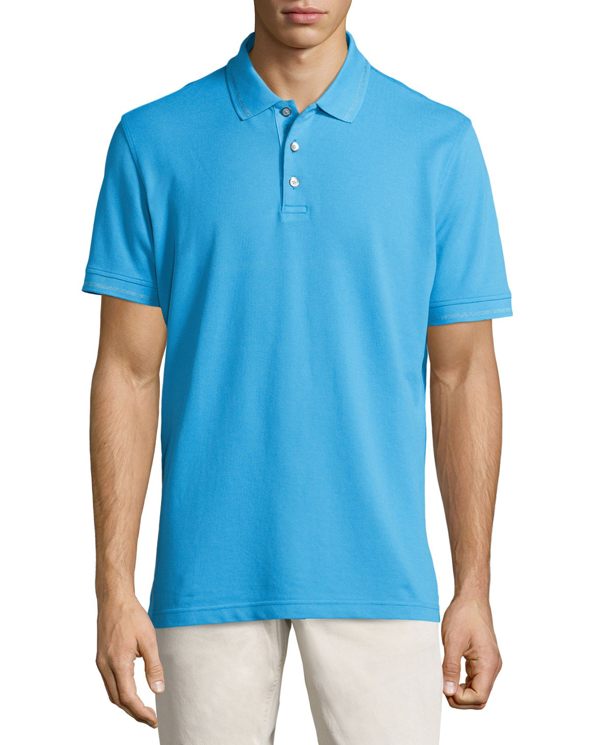 Robert graham numero knit 3 button polo shirt in blue for for 3 button polo shirts