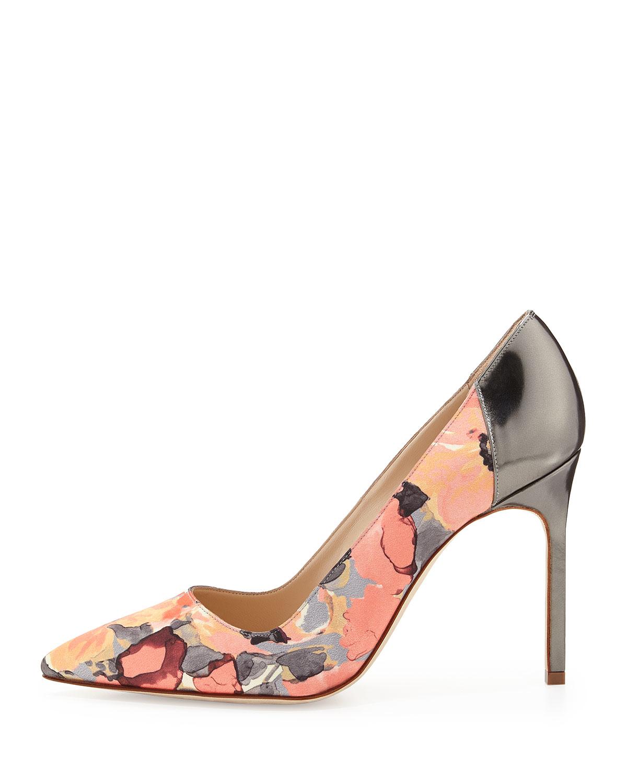 Lyst manolo blahnik bb floral print satin pump for Shoes by manolo blahnik