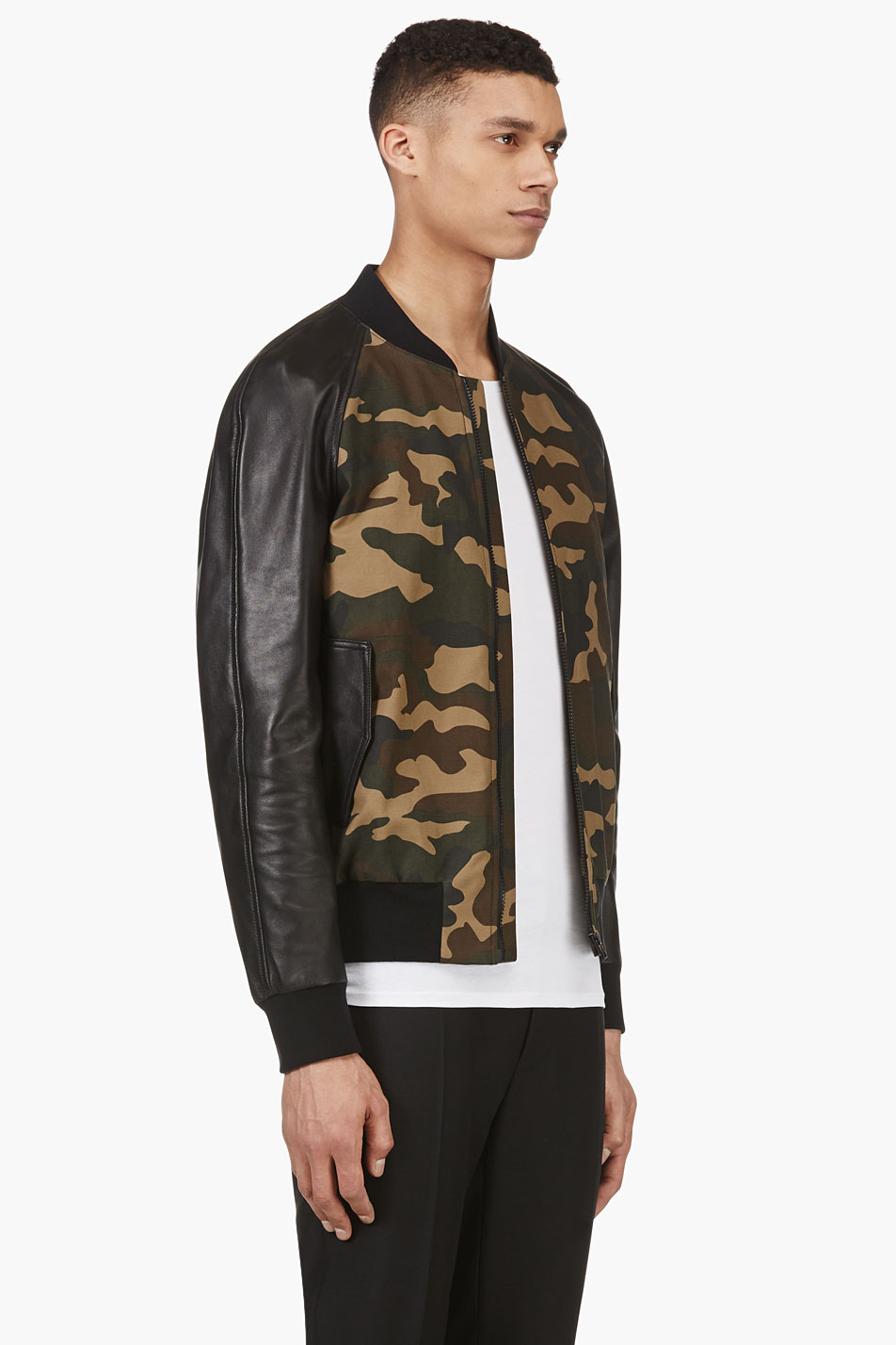 ami khaki green camo and leather bomber jacket in natural. Black Bedroom Furniture Sets. Home Design Ideas