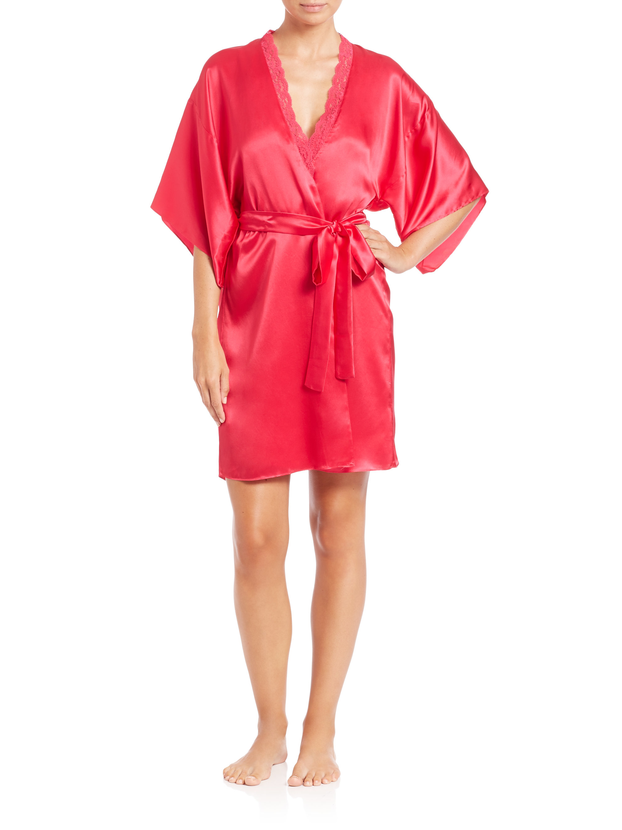 stella mccartney clara whispering lace trim silk robe in pink lyst. Black Bedroom Furniture Sets. Home Design Ideas