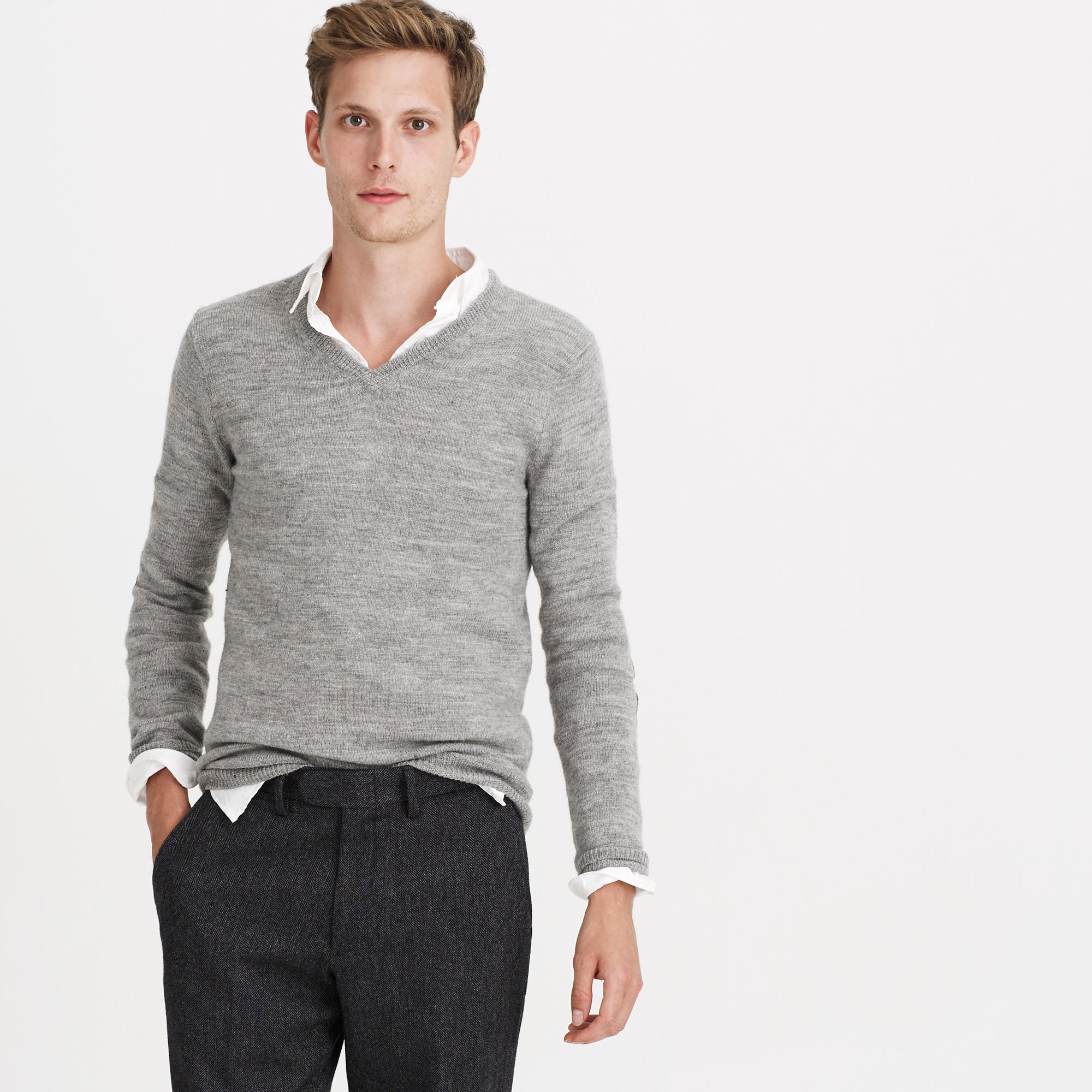 Slim rustic merino v neck elbow patch sweater in for J crew mens outfits
