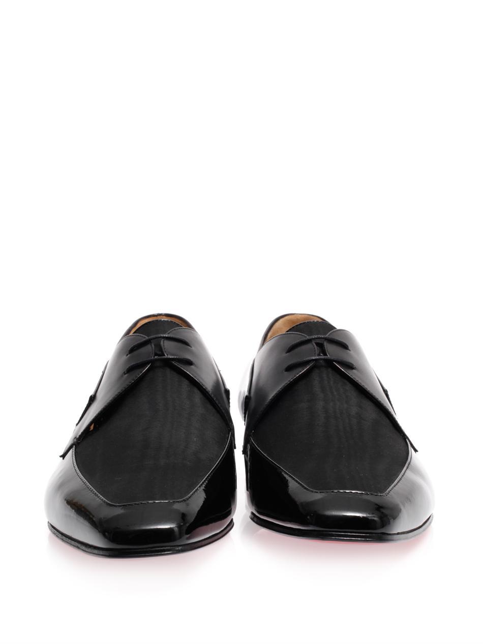 new arrivals 03d2a 0d65d Christian Louboutin Black New Orleans Lace Up Leather Shoes for men