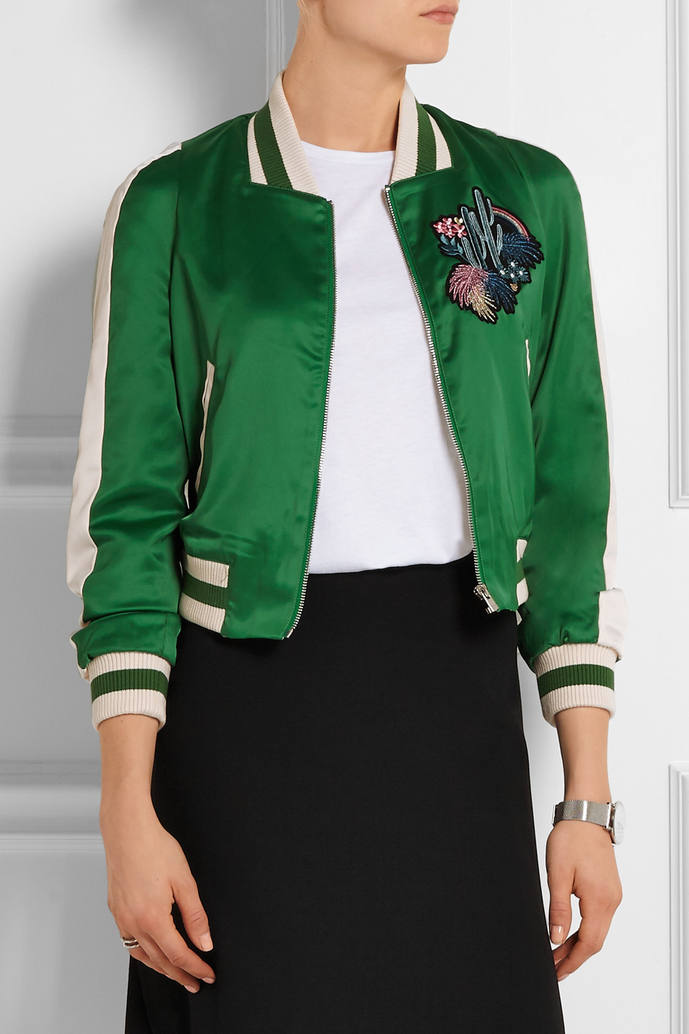 3362e7d75 Maje Green Embroidered Stretch-satin Bomber Jacket