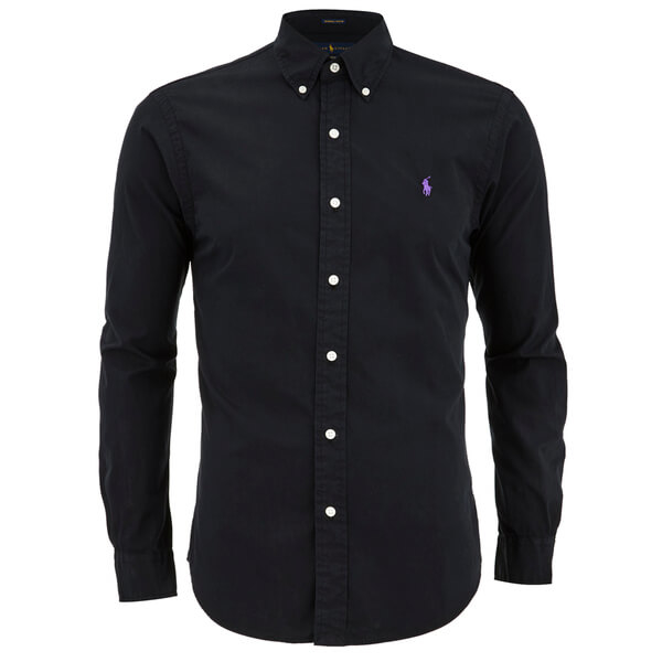 Polo ralph lauren men 39 s plain slim fit long sleeve shirt for Black fitted long sleeve t shirts