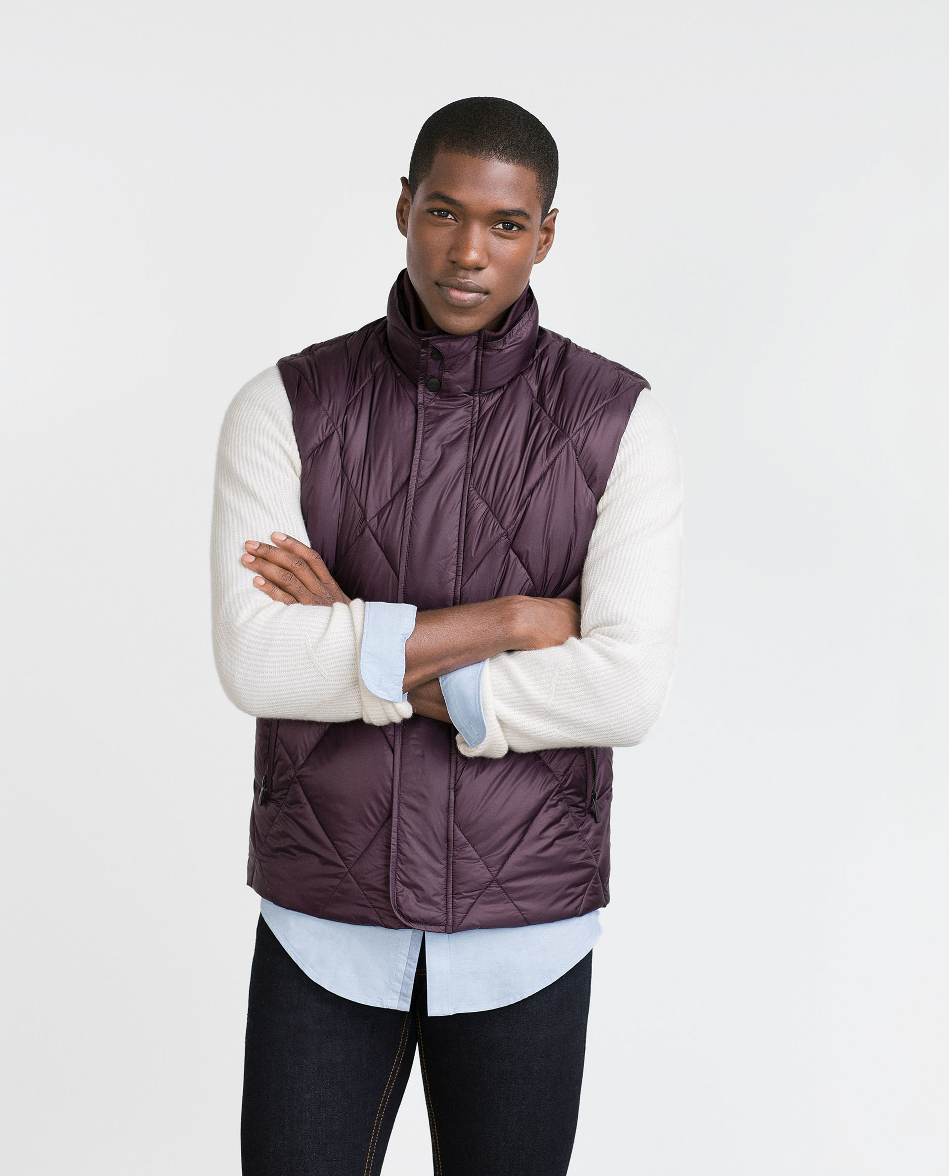 Zara Quilted Waistcoat In Purple For Men Burgundy Lyst