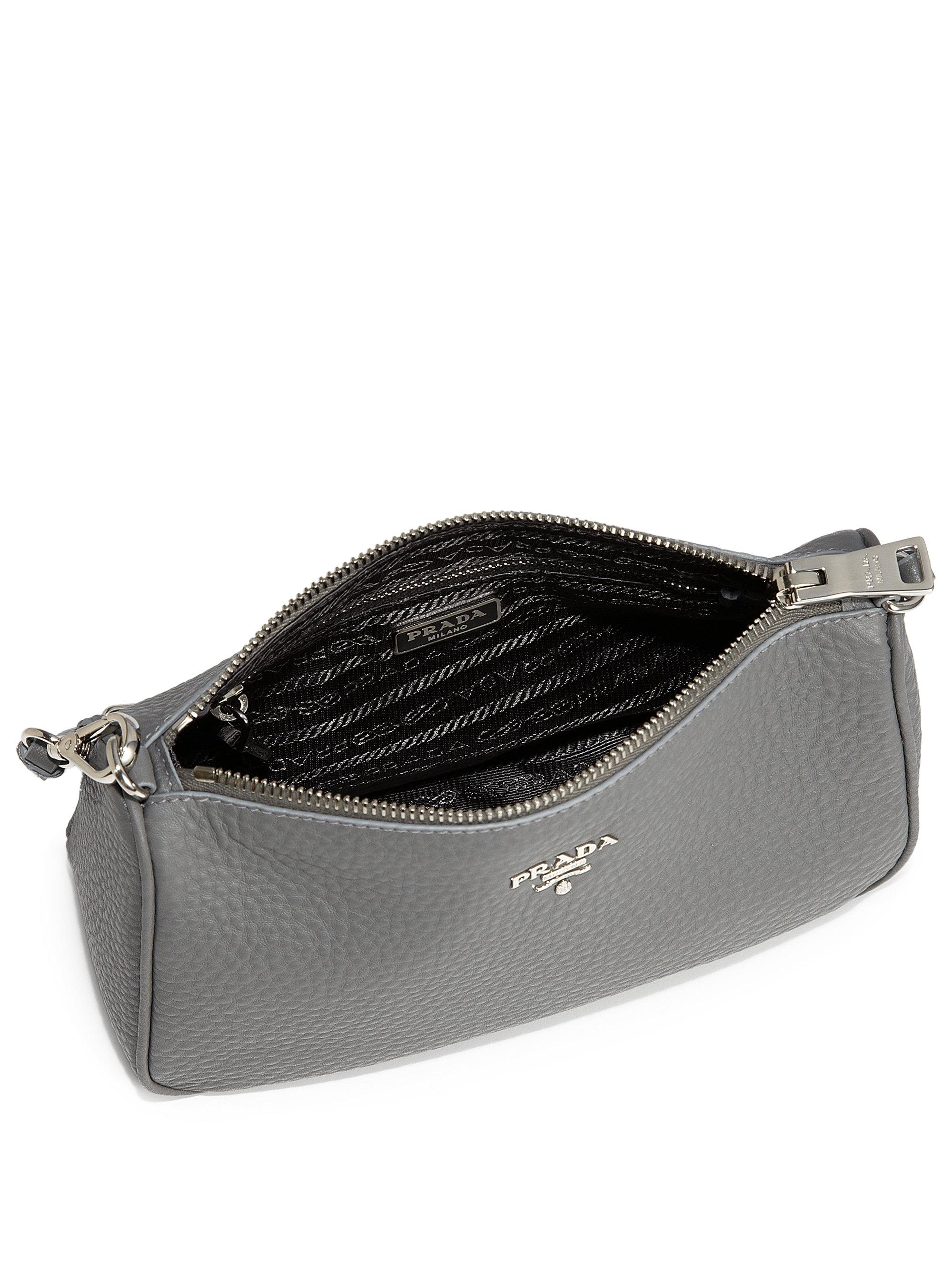 prada silver purse - Prada Daino Mini Hobo in Gray (GREY) | Lyst