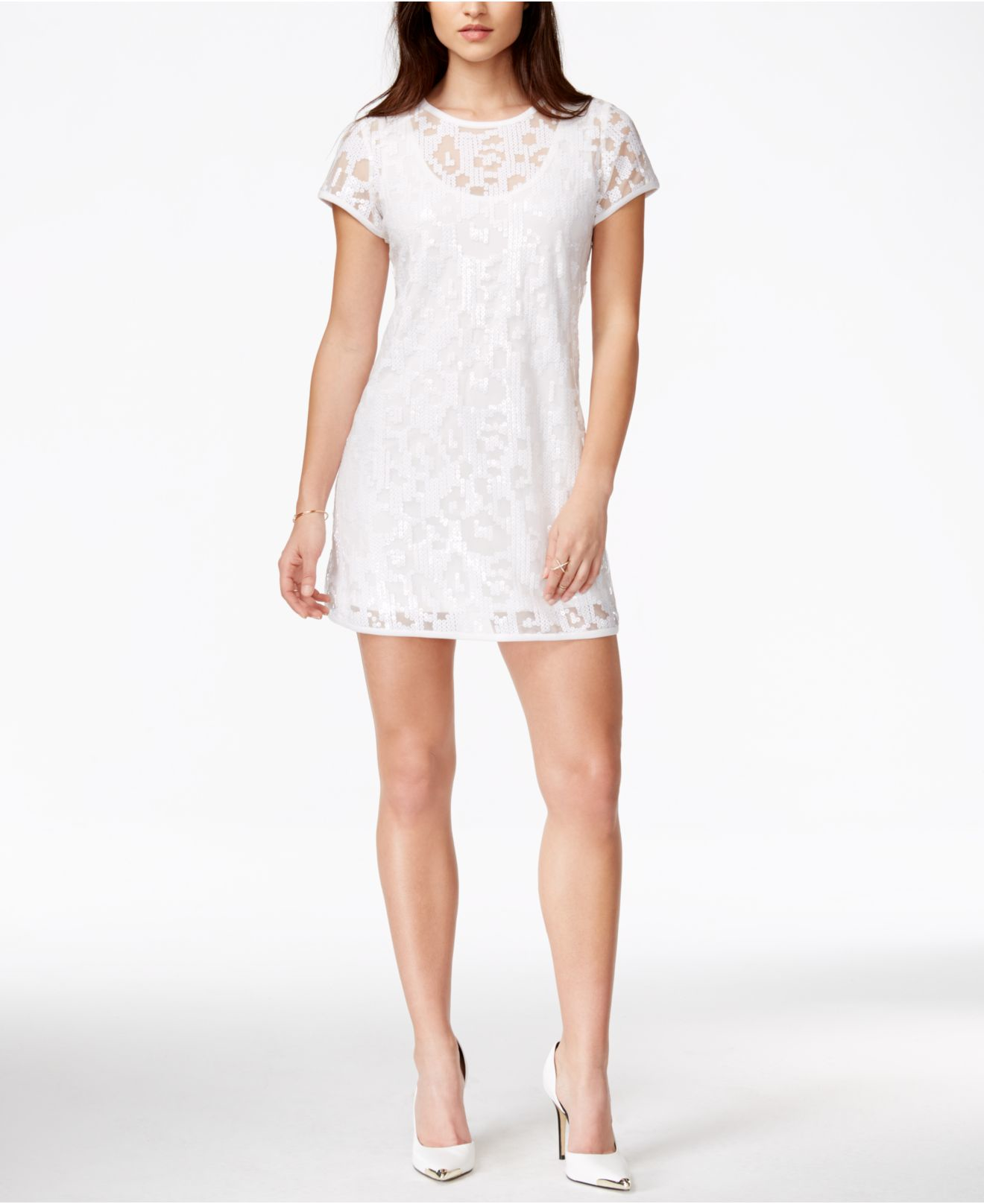 Guess Leopard Sequin Dress in White - Lyst