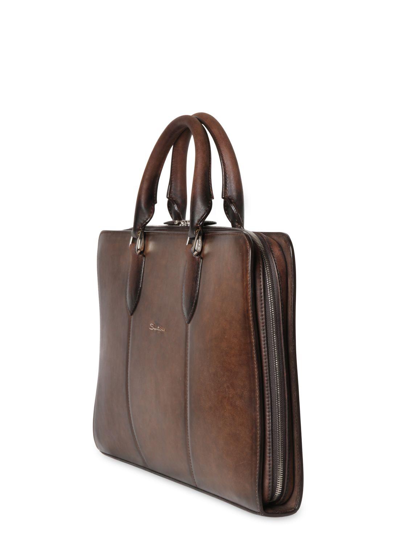 Santoni Handpainted Leather Slim Briefcase in Brown for ...