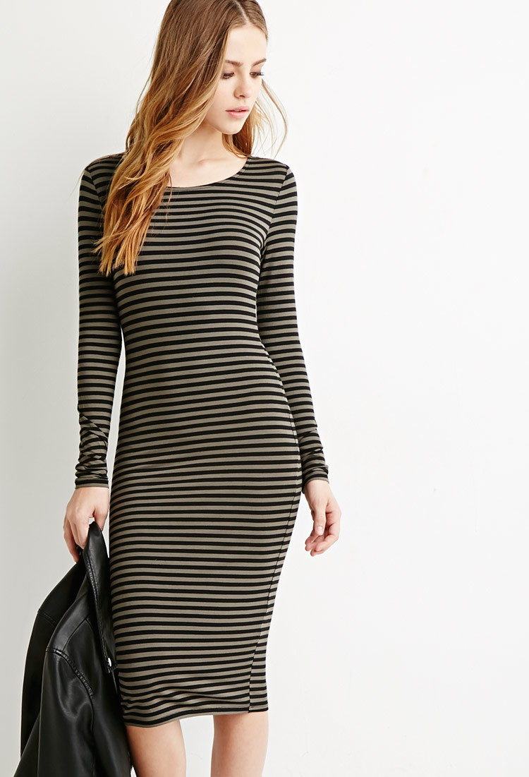 902d12ab9f70 Lyst - Forever 21 Striped Midi Dress in Green