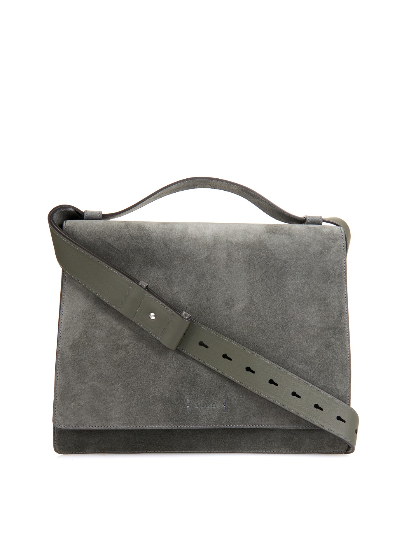 Gucci Suede Messenger Bag in Gray for Men | Lyst