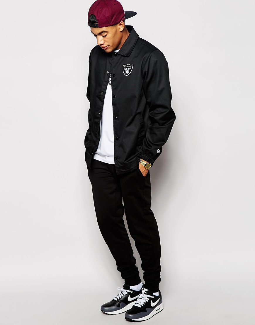 Ktz nfl raiders coach jacket in black for men lyst for Coach jacket
