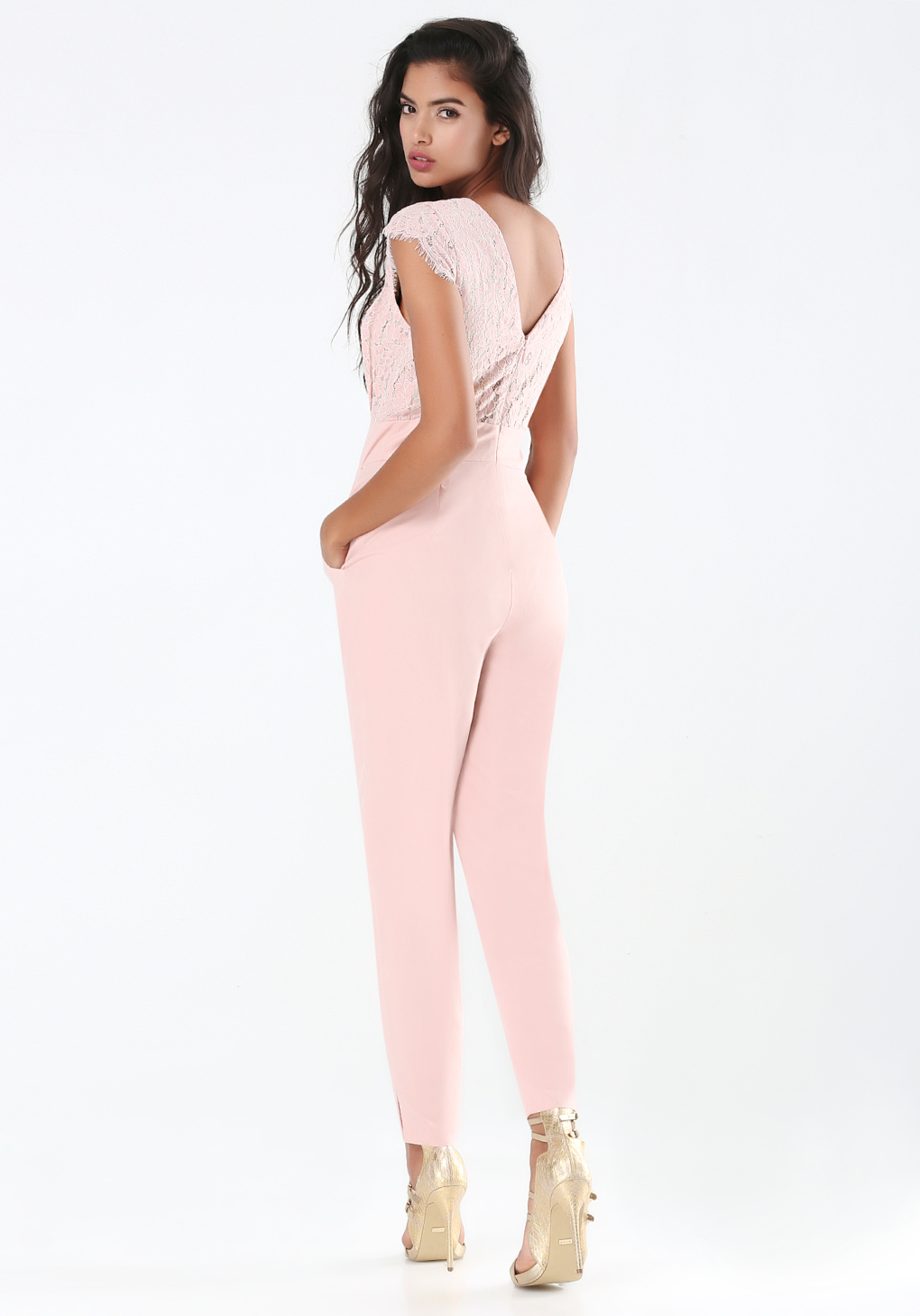 400e48bc7b6c Lyst - Bebe Petite Emma Lace Jumpsuit in Pink