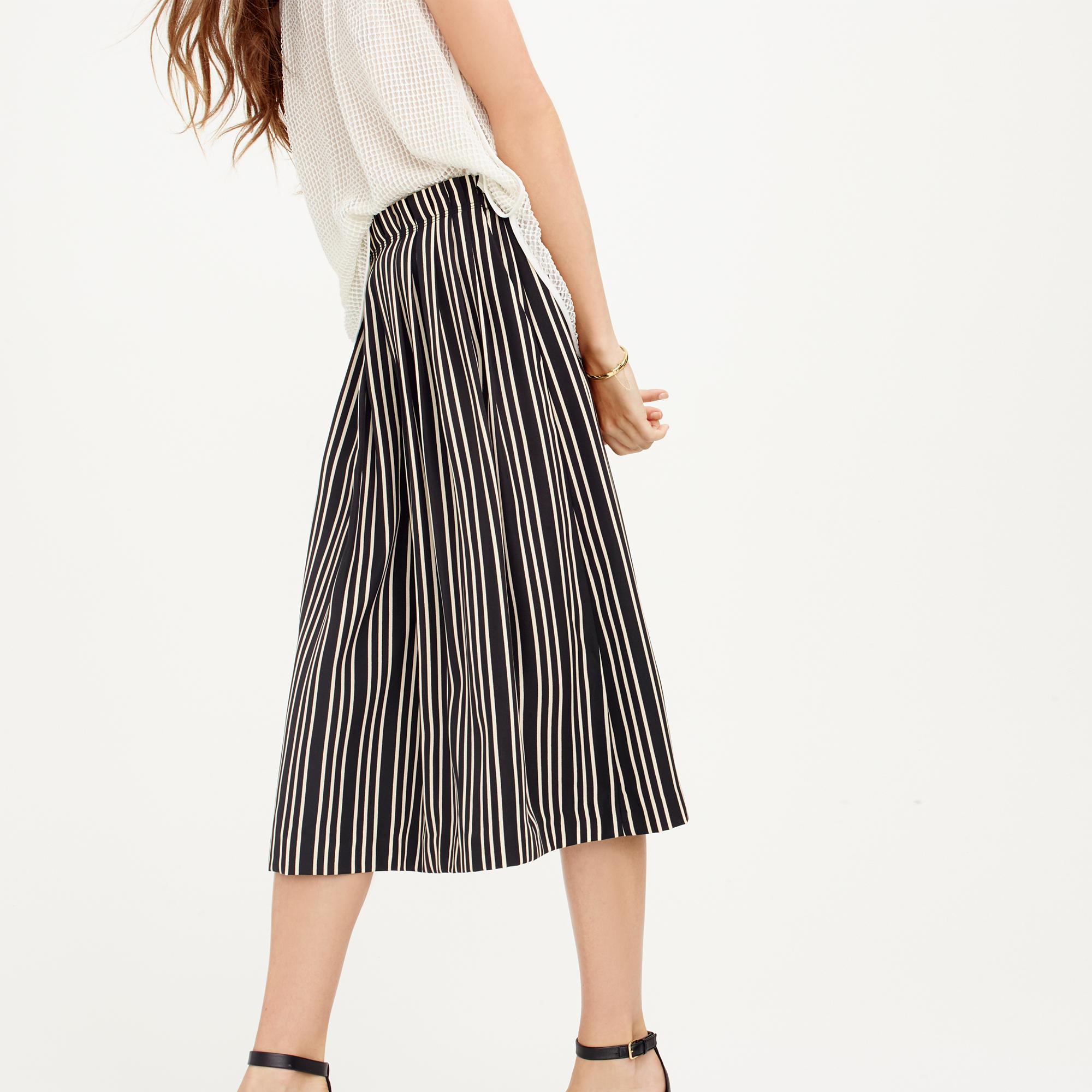 j crew pleated midi skirt in stripe in black lyst