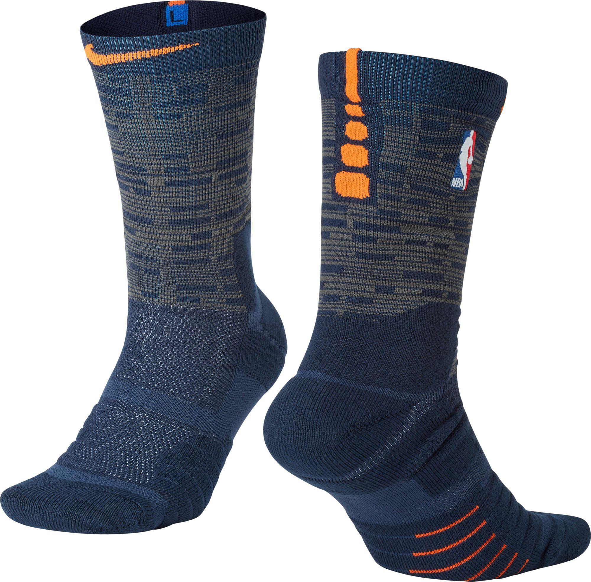 0a5ab0e1ea6 Nike New York Knicks City Edition Elite Quick Nba Crew Socks in Blue ...