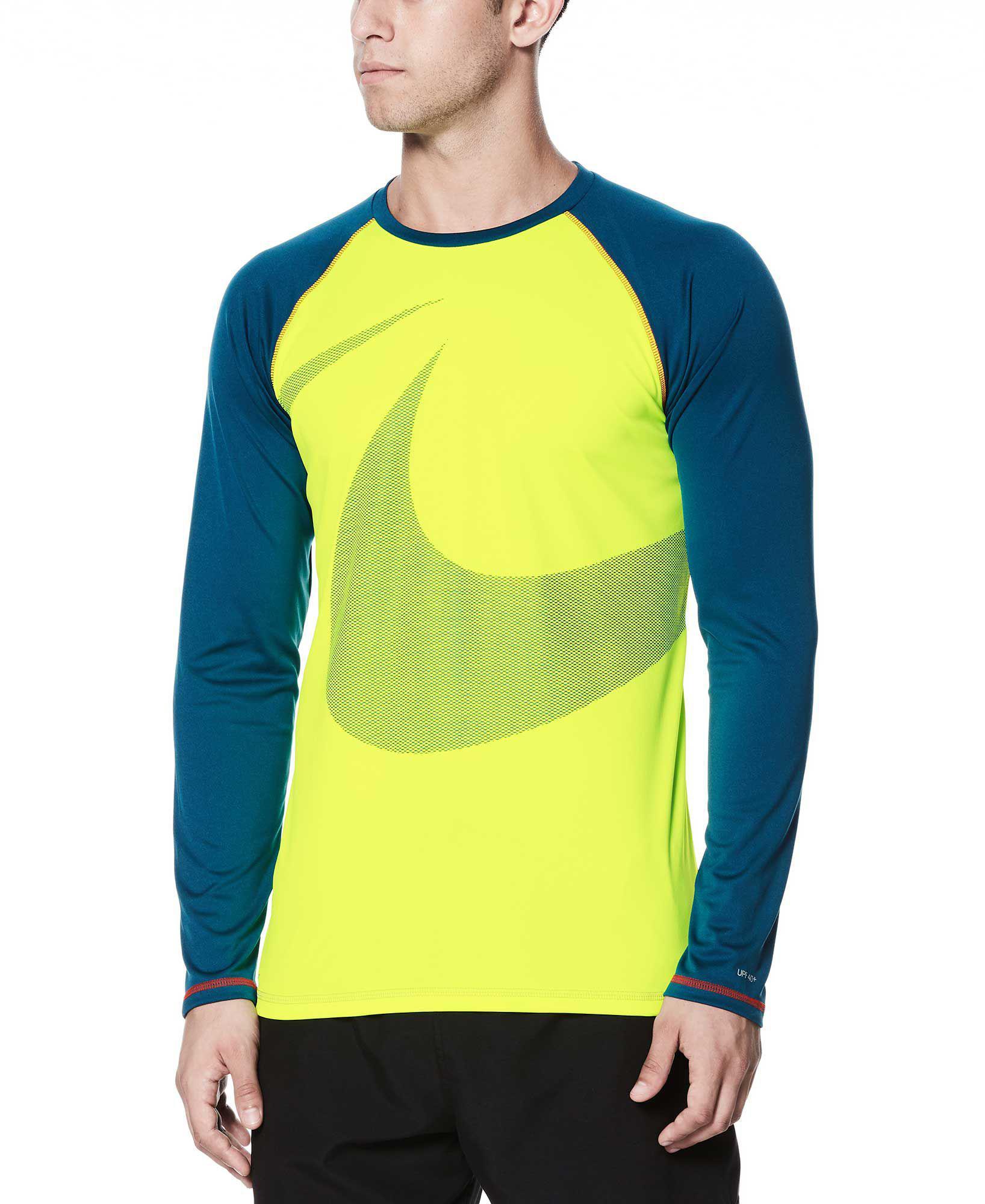 655de3ac Nike Macro Swoosh Long Sleeve Hydro Rash Guard in Yellow for Men - Lyst
