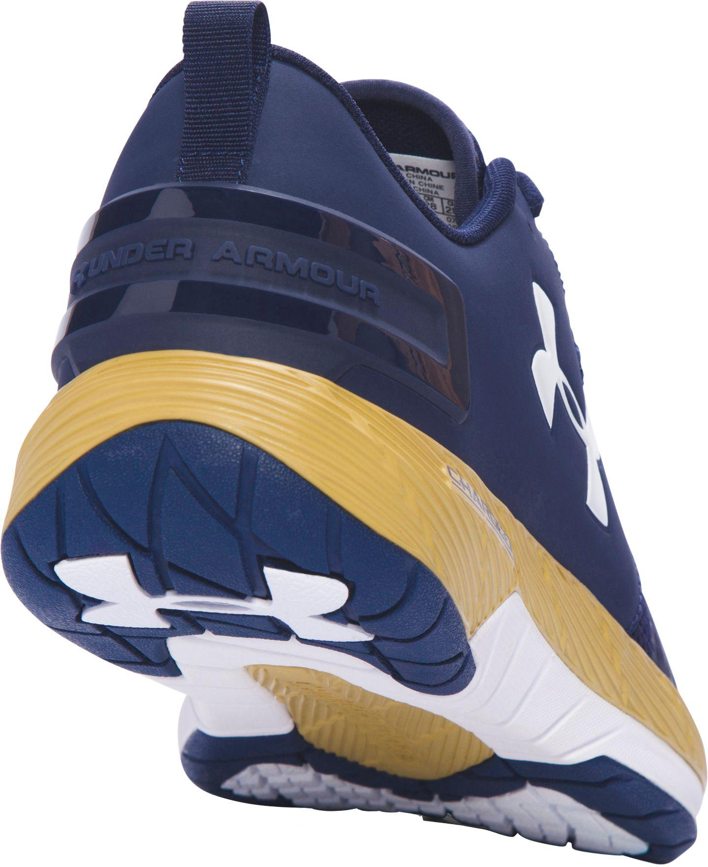 blue and gold under armour shoes