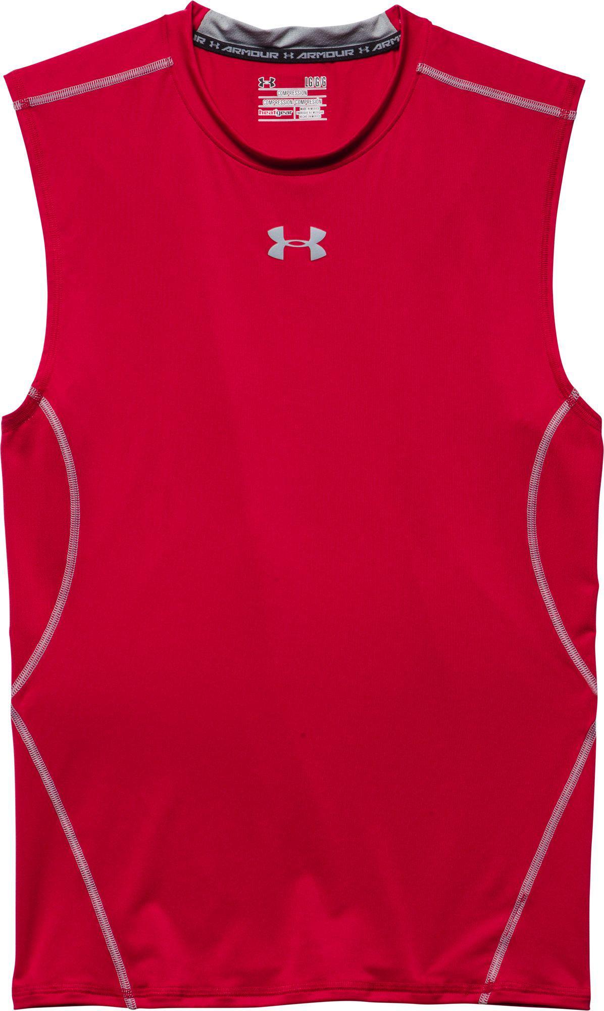 32b4c44d Lyst - Under Armour Heatgear Armour Sleeveless Shirt in Red for Men