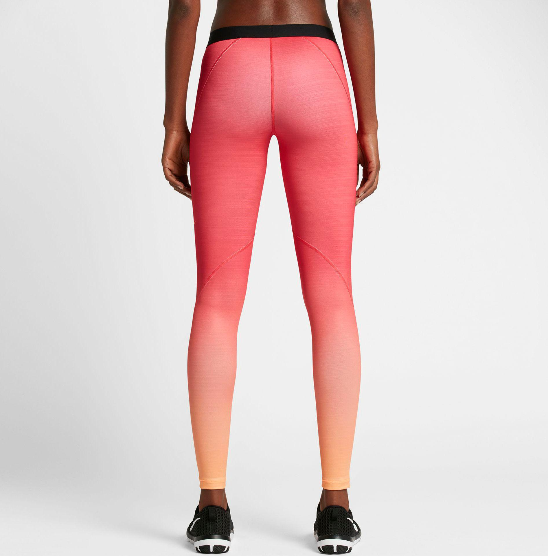 8644bca834 Nike Pro Hyperwarm Fade Printed Tights in Red - Lyst