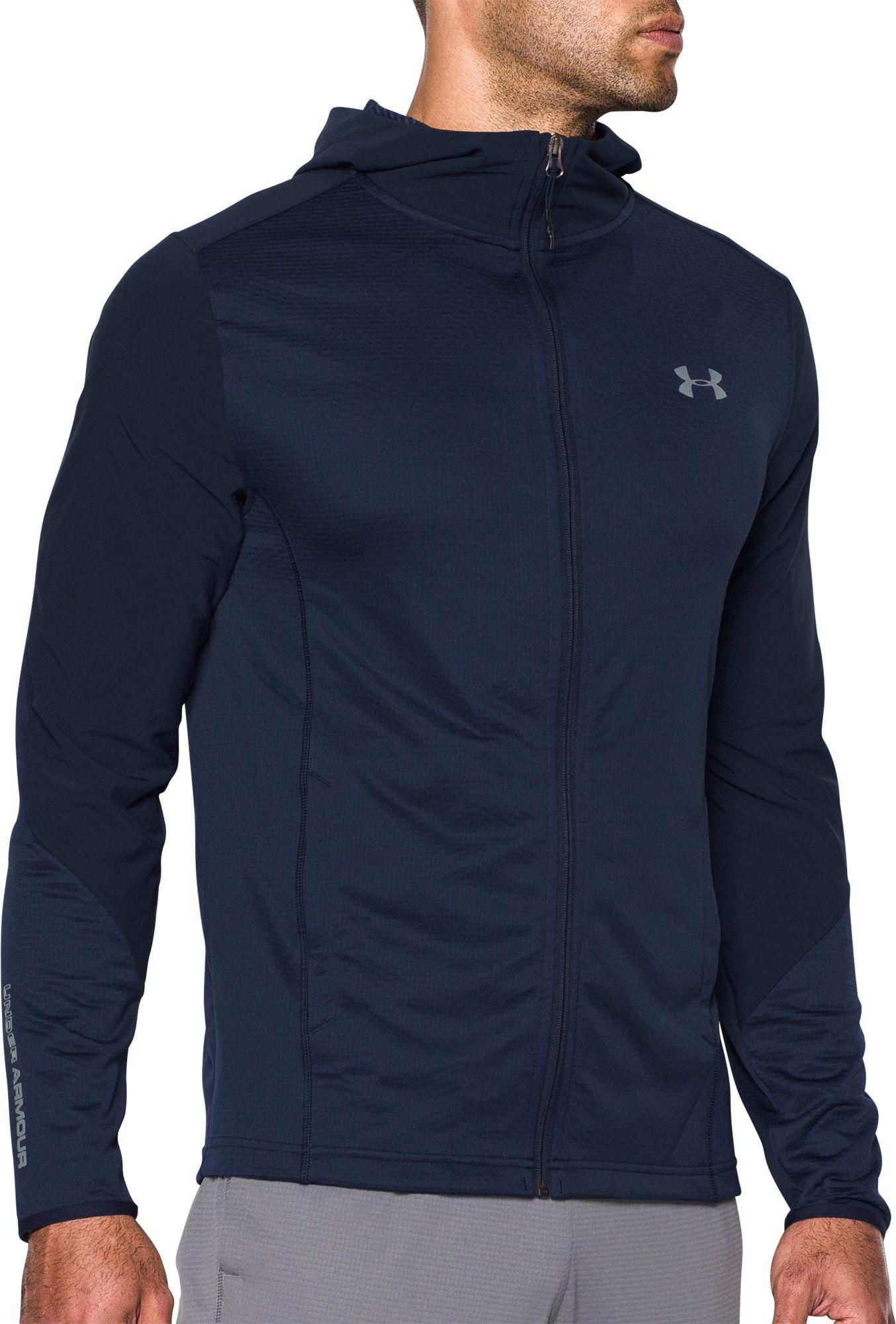 824fa954a7 Under Armour Blue Coldgear Infrared Grid Fitted Full-zip Hoodie for men