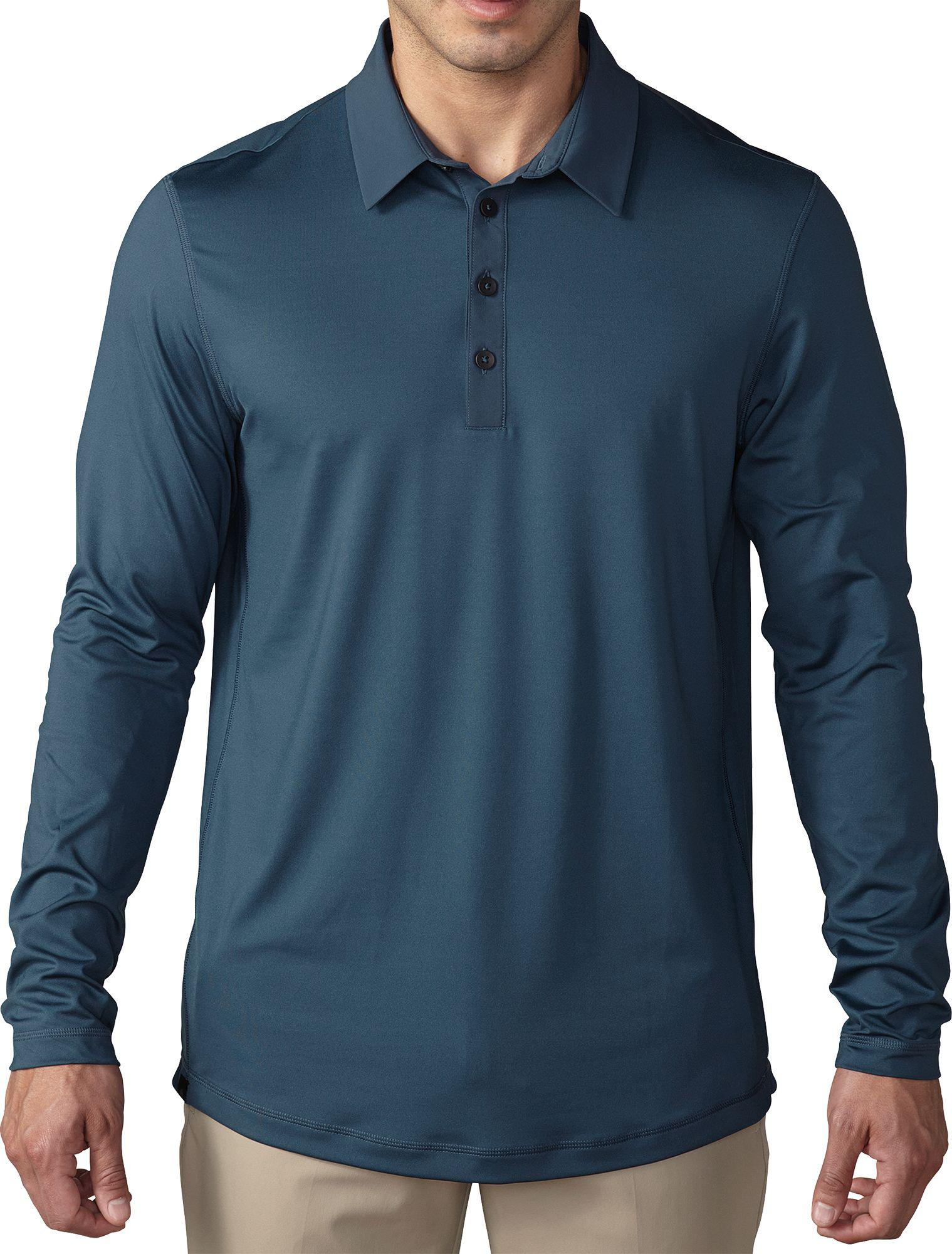 Lyst Adidas Climacool Upf Long Sleeve Golf Polo In Blue