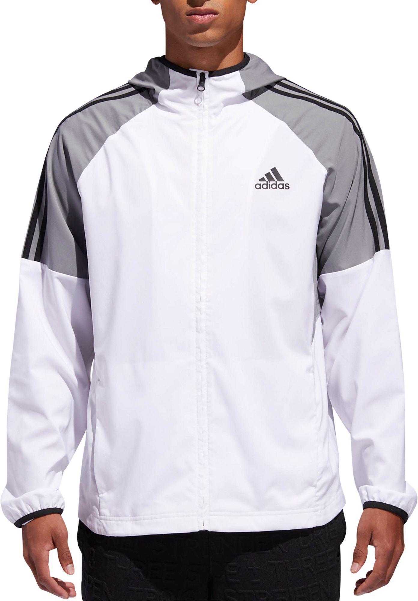 b15702c82 adidas Sport Id 3-stripe Windbreaker Jacket in Gray for Men - Lyst