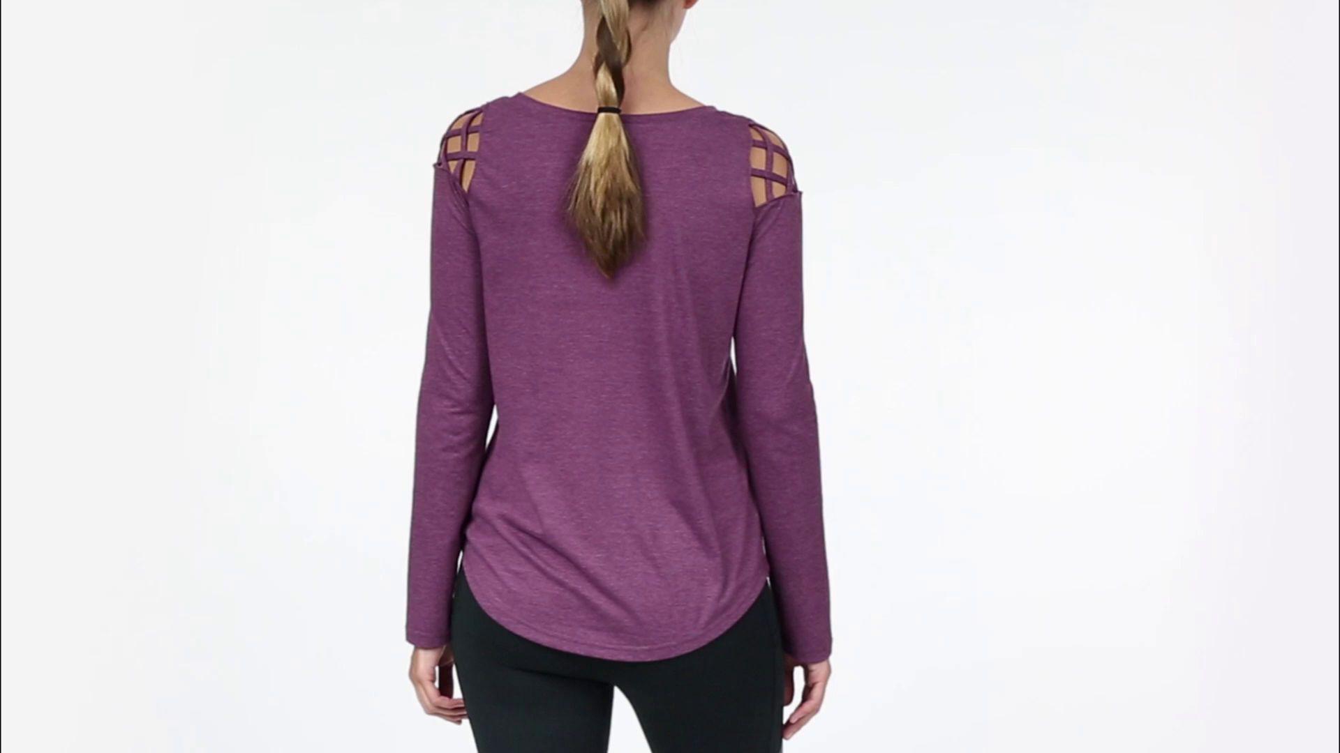 ec20563b Reebok Blue Cross Shoulder Heather Long Sleeve Shirt