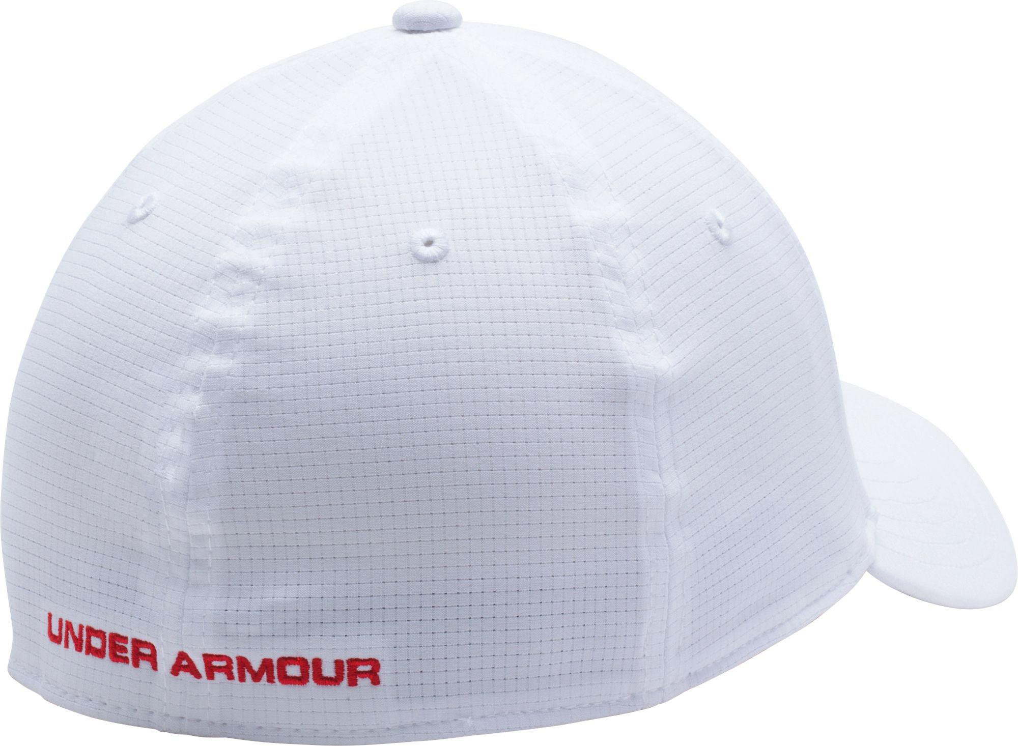 Under Armour Armourvent Usa Stretch Fit Hat In White For