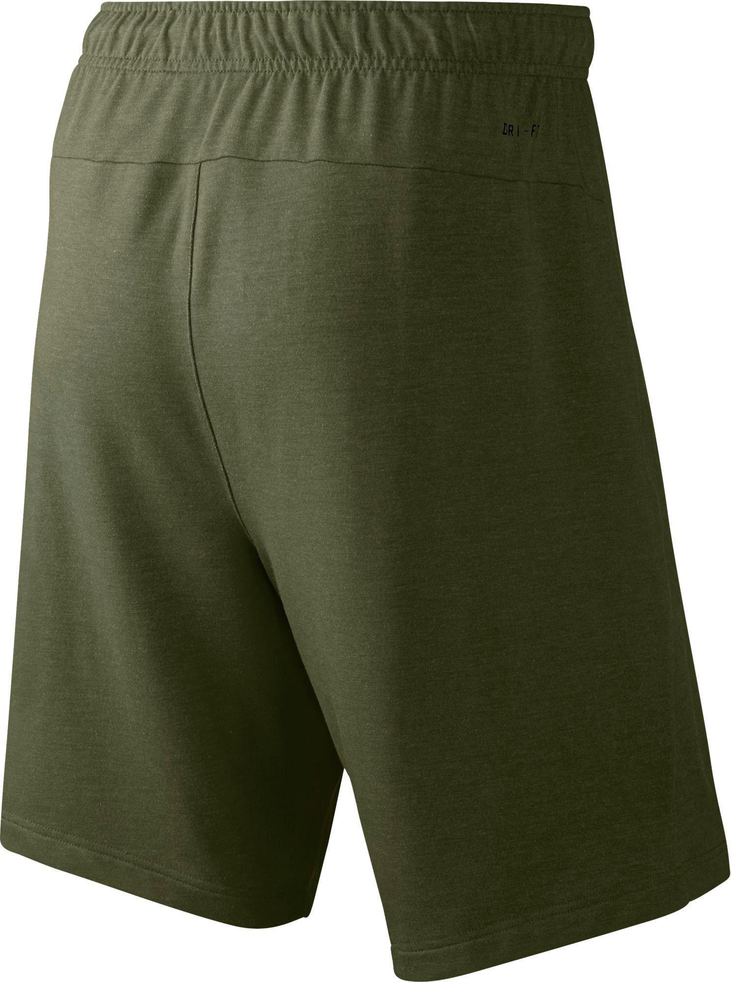 green nike fleece shorts