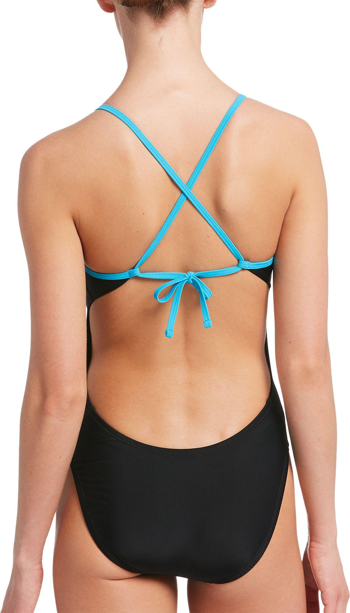 17622d44d5ac4 Nike - Black Solid Crossback Cutout One Piece Swimsuit - Lyst. View  fullscreen