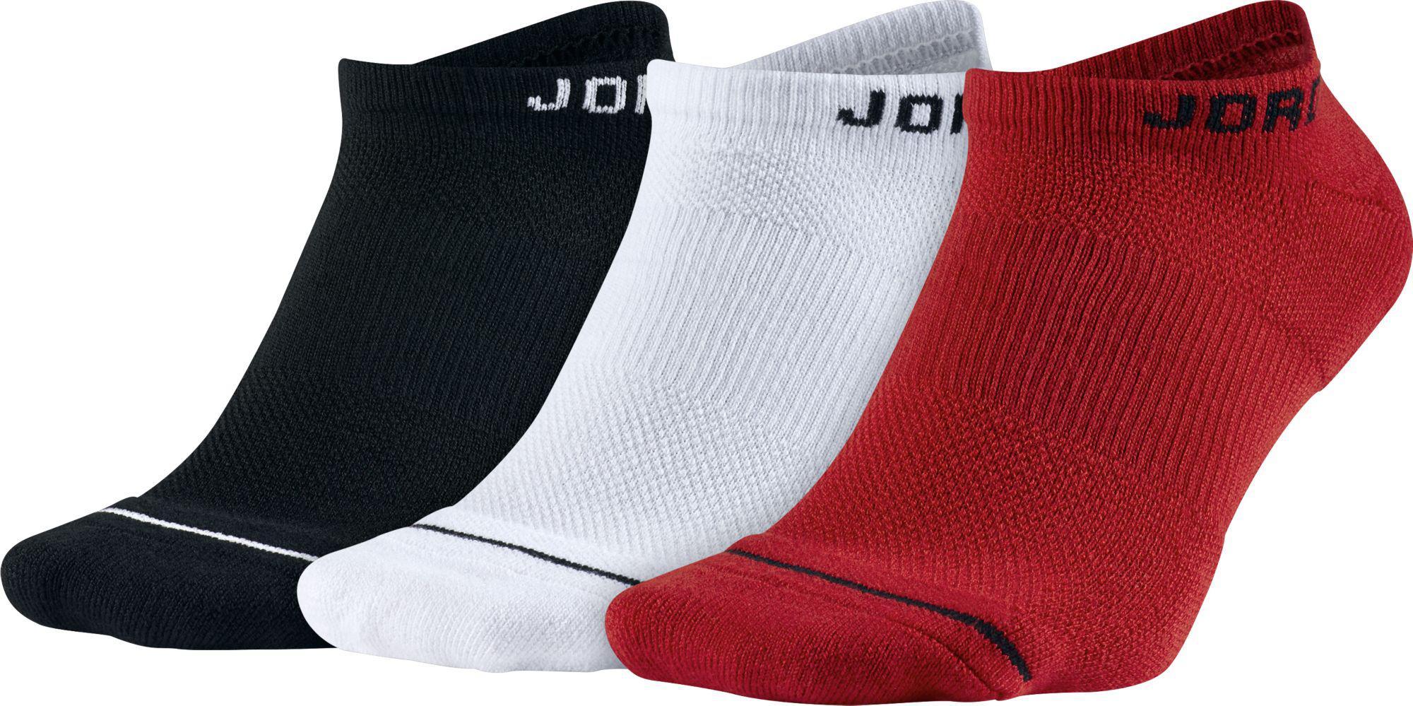 85e898706456 Lyst - Nike Jumpman Dri-fit No Show Socks 3 Pack in Red