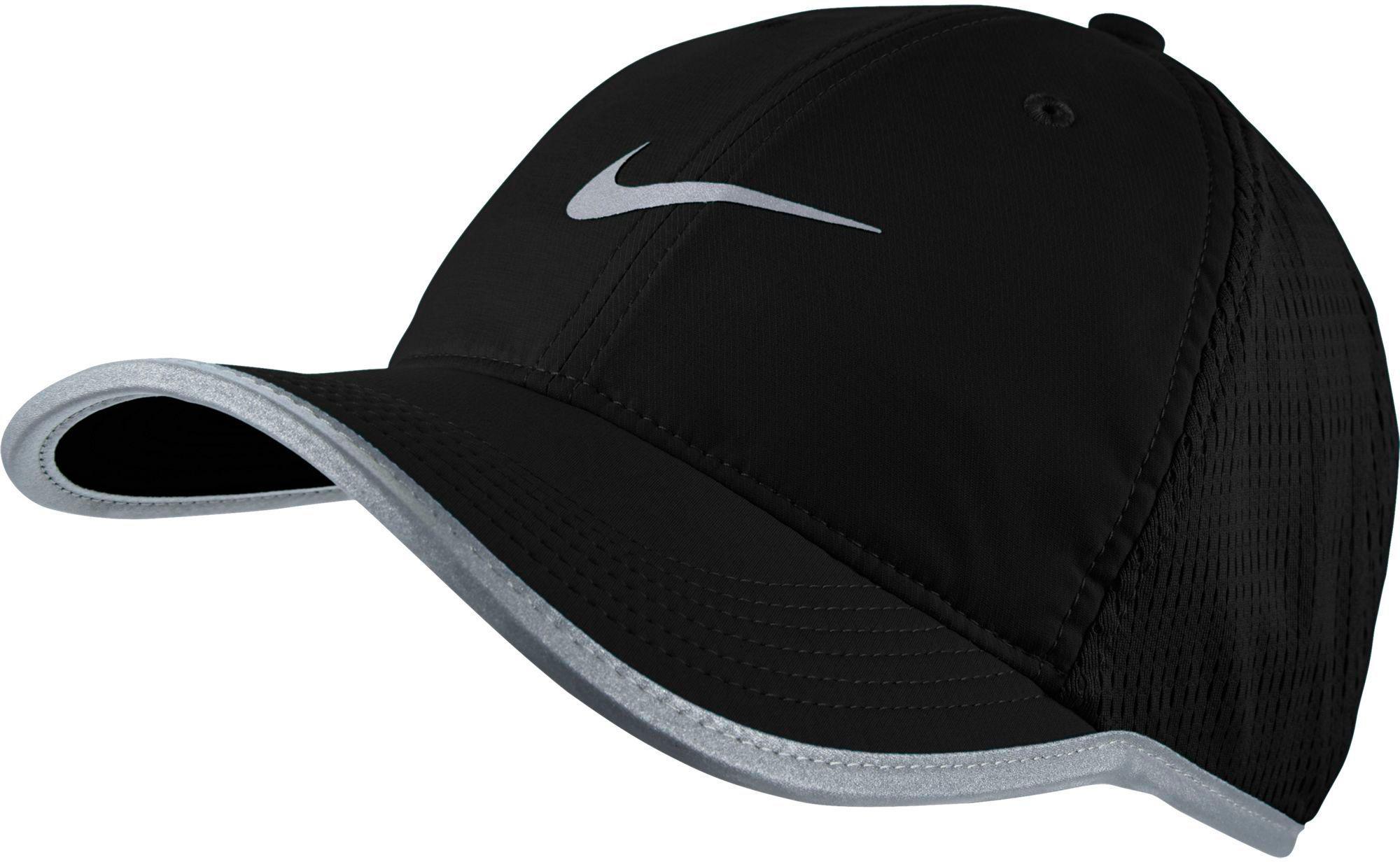 2d7e26e302a ... release date nike. mens black featherlight adjustable running hat c7b53  9b09f