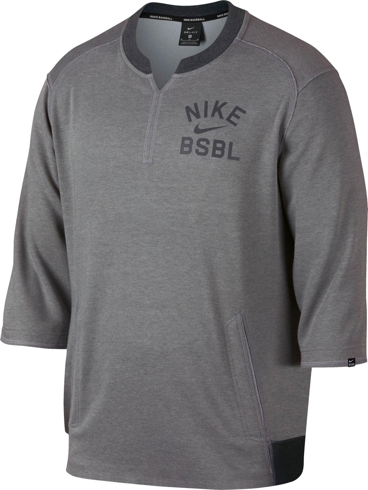 769f163324091 Lyst - Nike 3 4 Fleece Crew Flux Baseball Shirt in Gray for Men