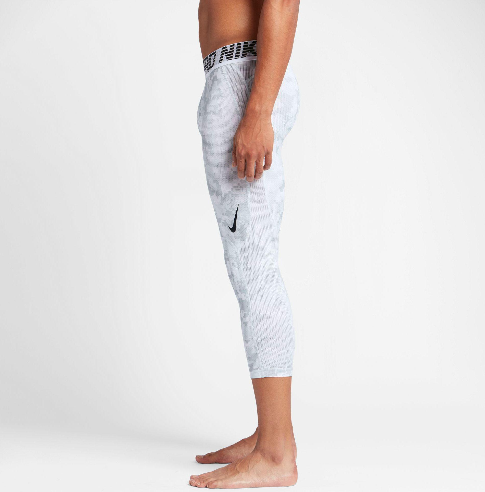 f3f7b1a72bb74 Nike White Pro Hypercool 3/4 Length Digi Camo Printed Compression Tights  for men